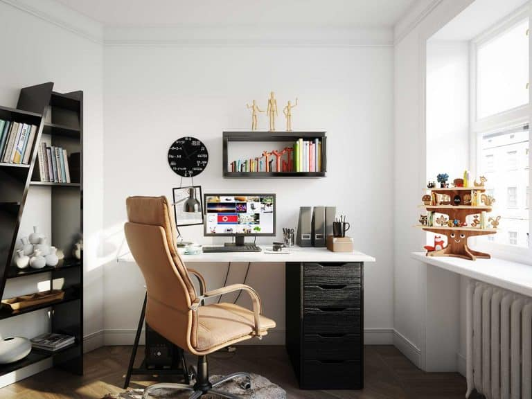 Cozy scandinavian style home office with white walls and glass window, 13 Gift Ideas For Someone With A Home Office
