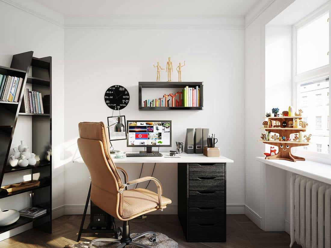 Cozy scandinavian style home office with white walls and glass window