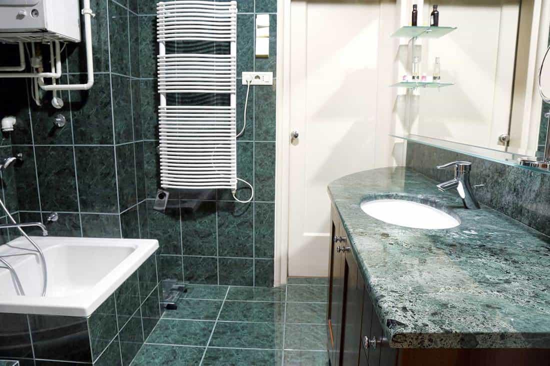 Dark green themed home bathroom interior