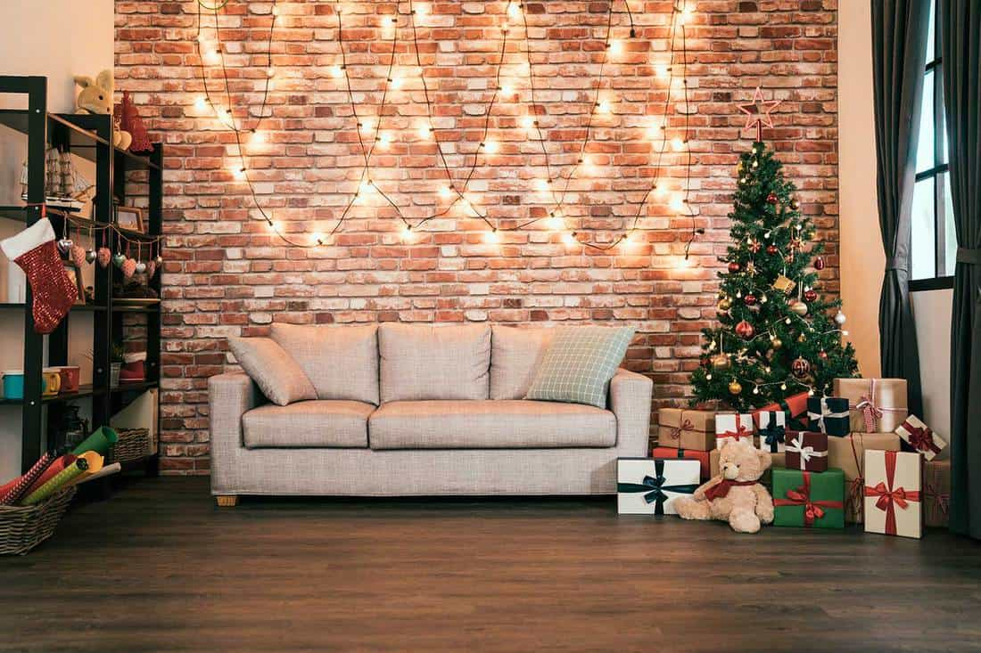 Decorated cozy house living room prepared for coming christmas
