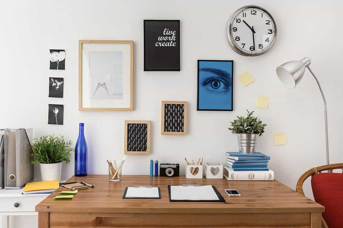 Designer's work office with materials on the table