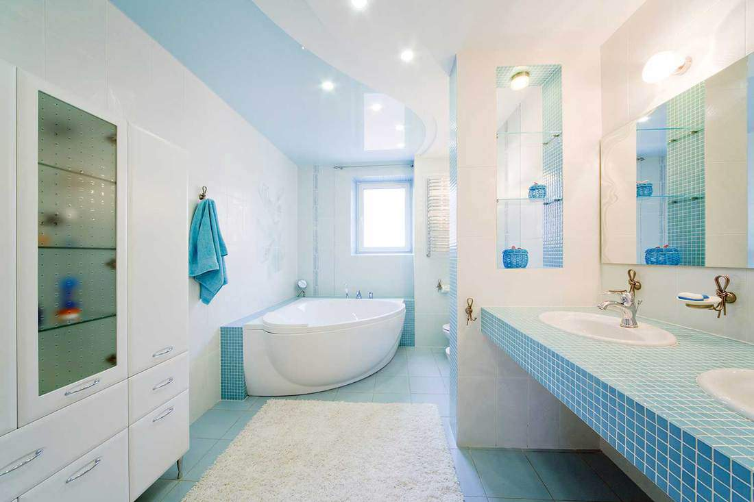 Domestic blue house bathroom with modern interior