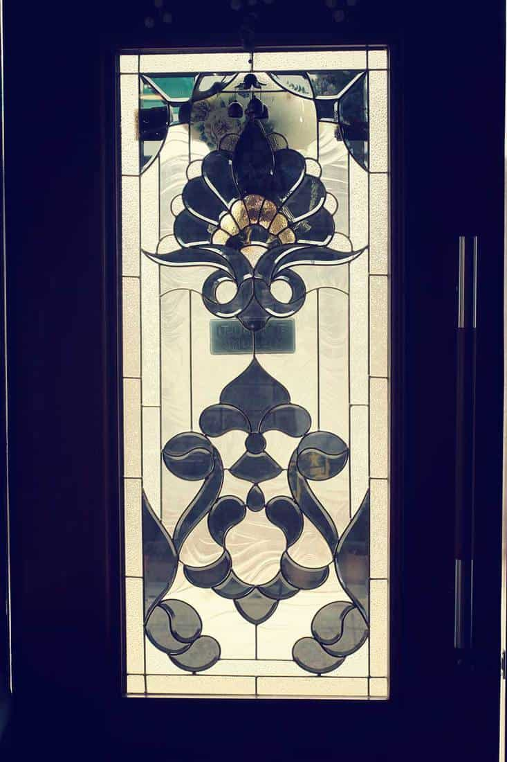 Door with artistic stained glass