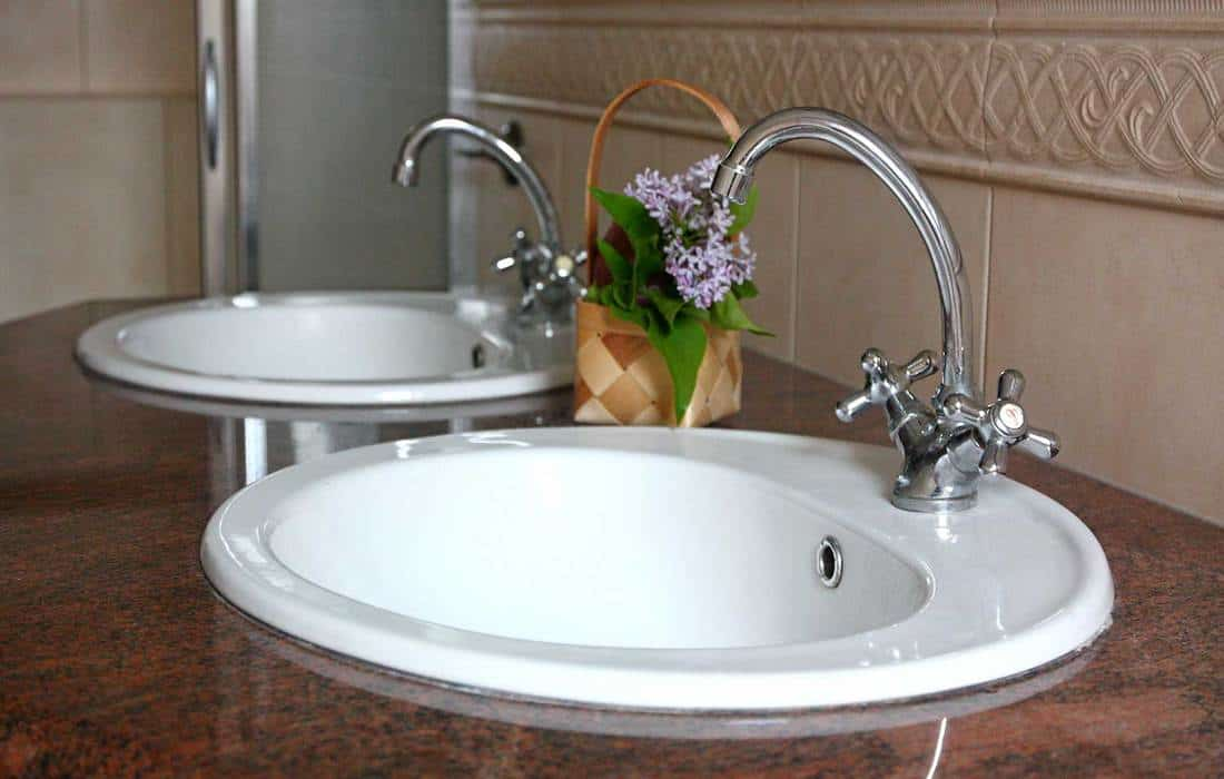 Double sinks on marble countertop in modern style bathroom