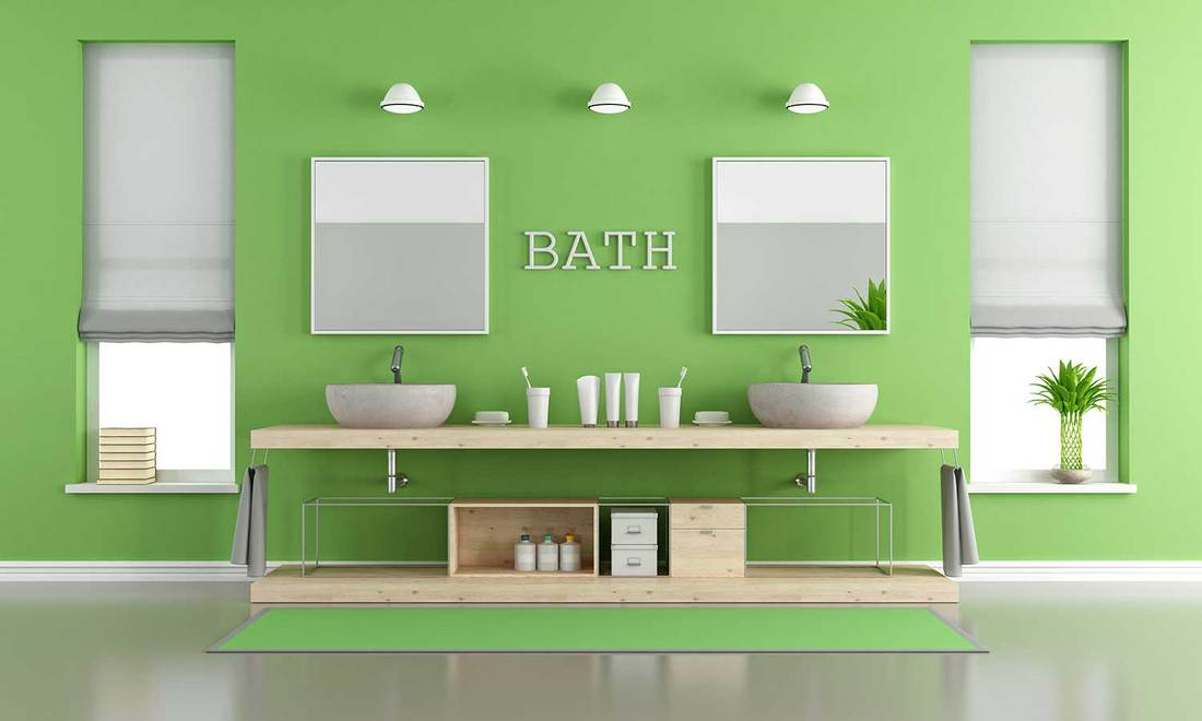 Green and gray contemporary bathroom with wash basins and wood countertop