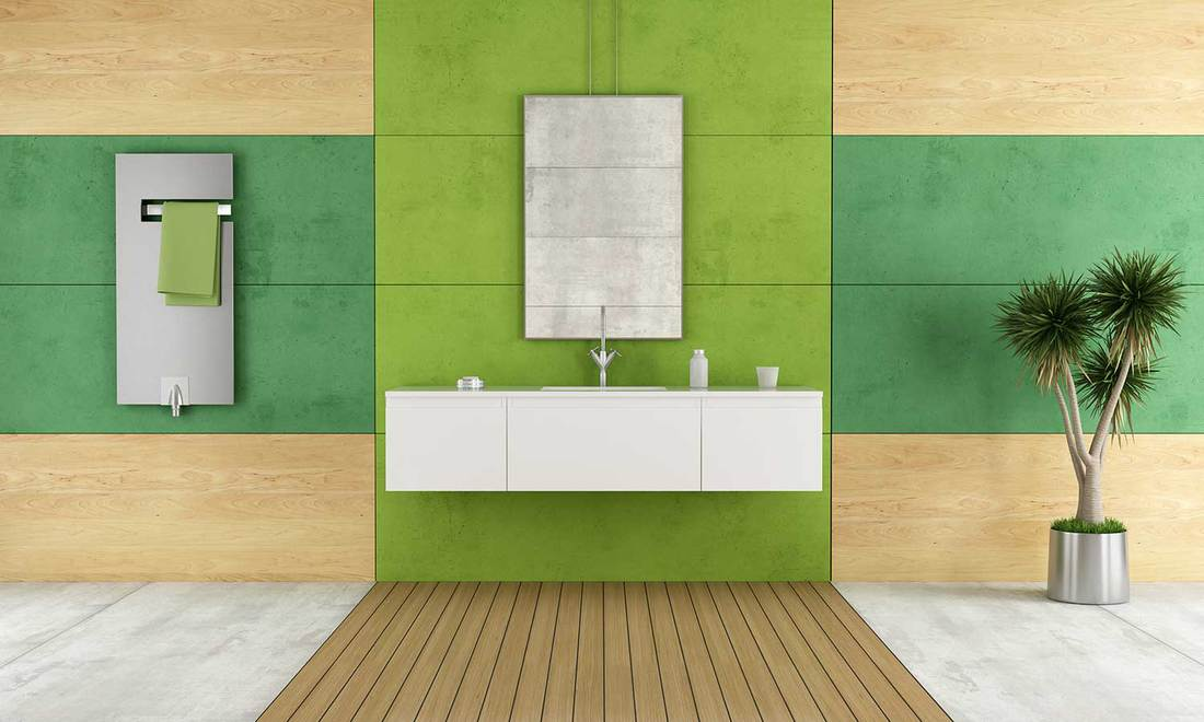Green contemporary bathroom with white wash basin