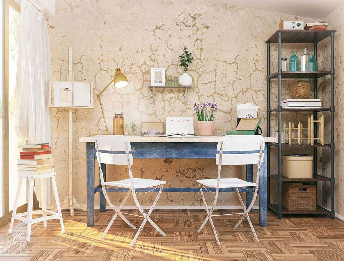 Home office interior with rustic elements