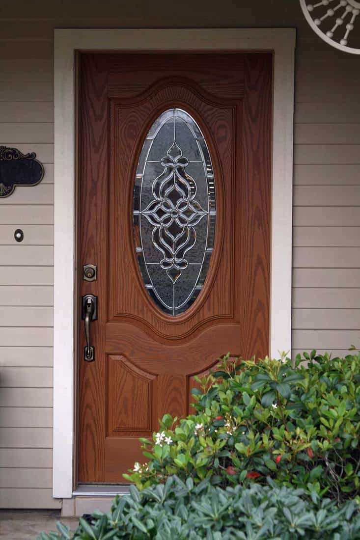 House front door with stained glass