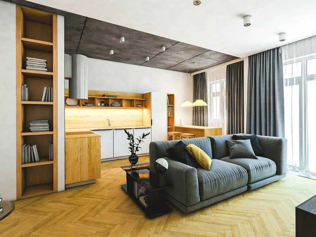 House modern kitchen and living room interior with parquet flooring, bookshelf and cozy grey sofa