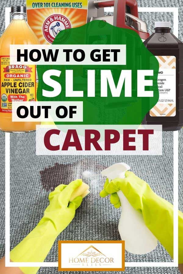 How to Get Slime Out of Carpet, Hands cleaning a carpet with slime or stain