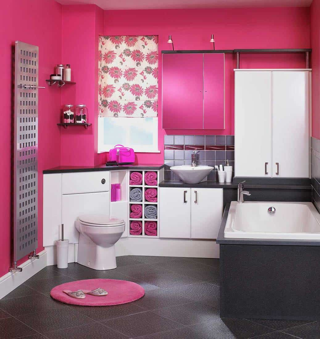 Interior of modern pink bathroom