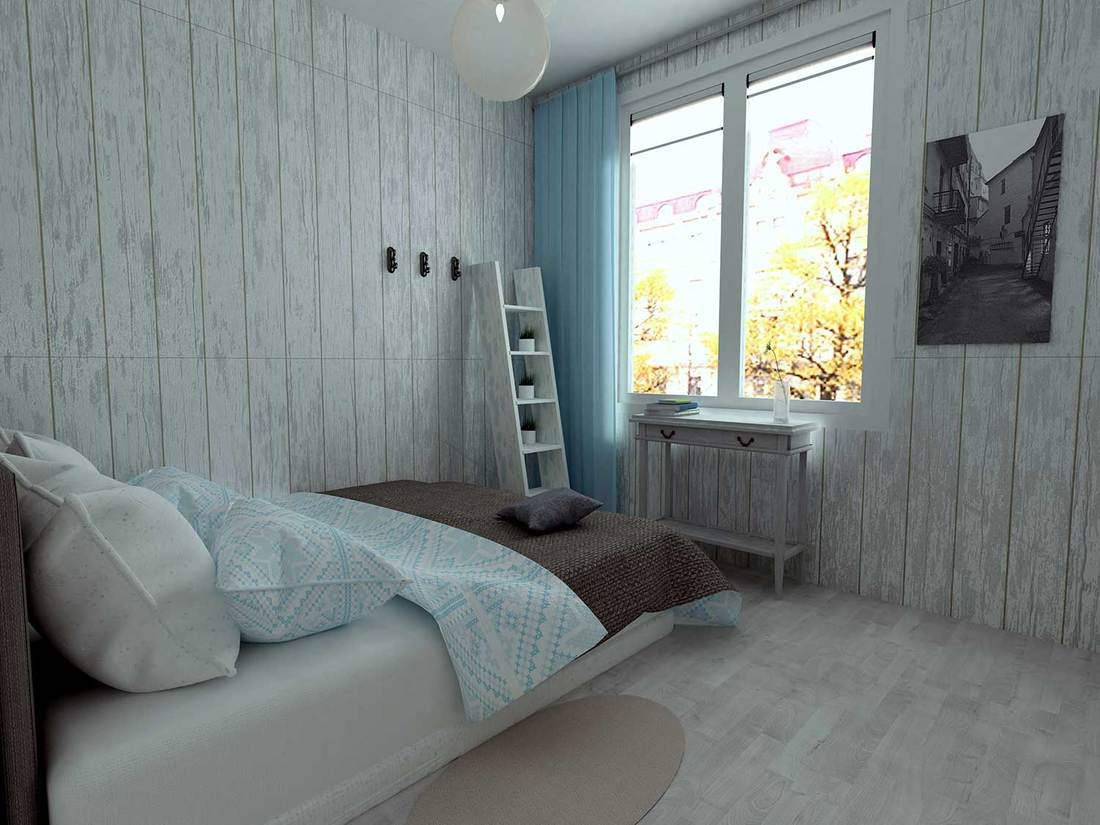 Wooden gray walls and blue curtains