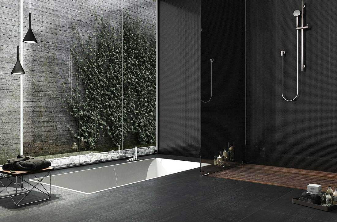 Large black themed minimalist bathroom interior design with small pool and outside window view