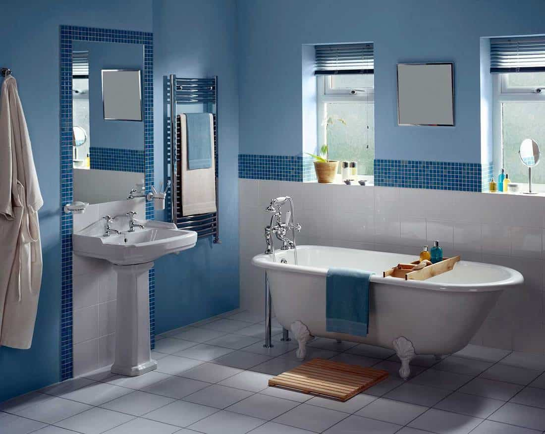 Large modern bathroom with blue walls, bathtub and standing sink