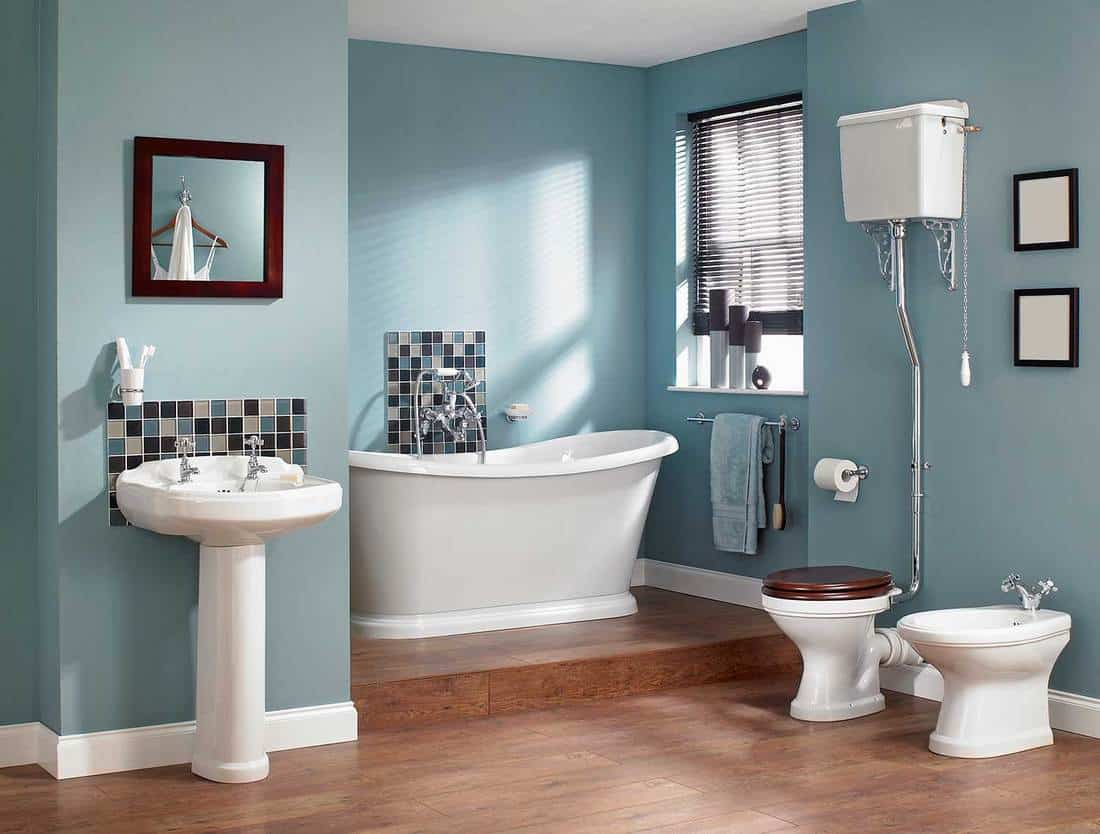 Large traditional blue themed house bathroom with wood floors
