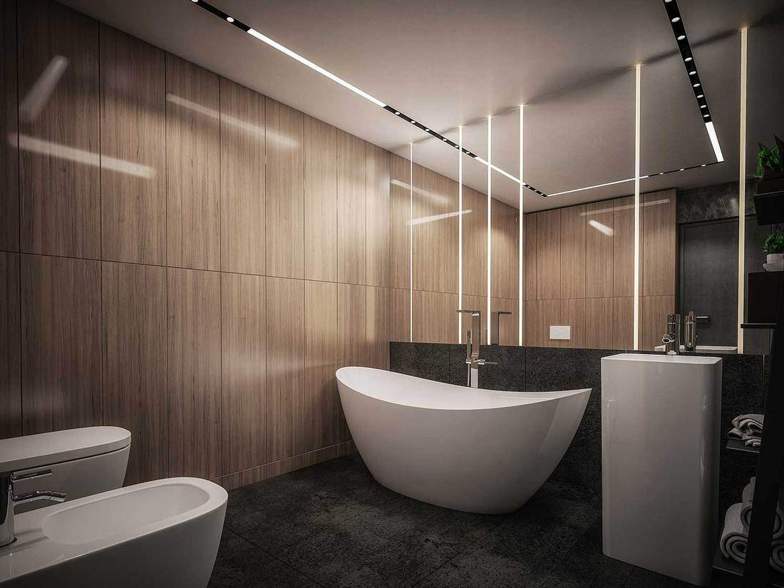 Luxury bathroom interior with ceramic tub, sink, urinal and toilet