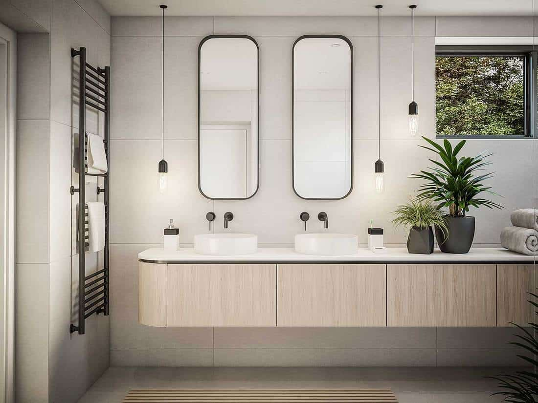 Luxury bathroom interior with two mirrors, two wash basins, house plants, towels and glass window