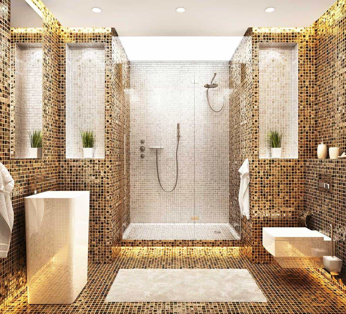 Luxury bathroom with white and brown mosaic design