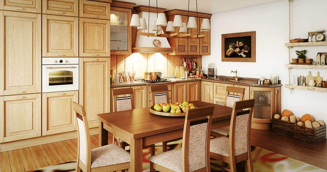 Luxury domestic kitchen interior with rustic elements