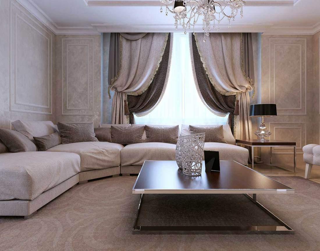 Luxury modern gray themed living room interior