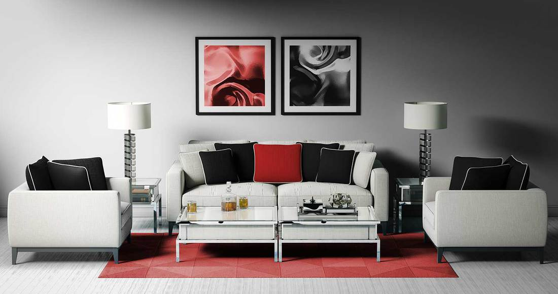 Modern and luxurious living room interior design with black, red and white colors