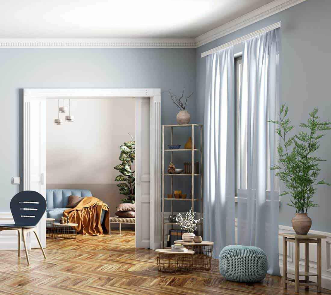 Living Room With Light Blue Walls