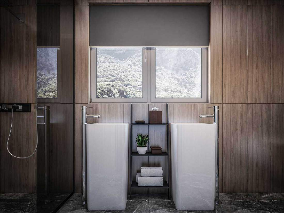 Modern bathroom interior with two sinks, wooden walls, glass mirror and two windows