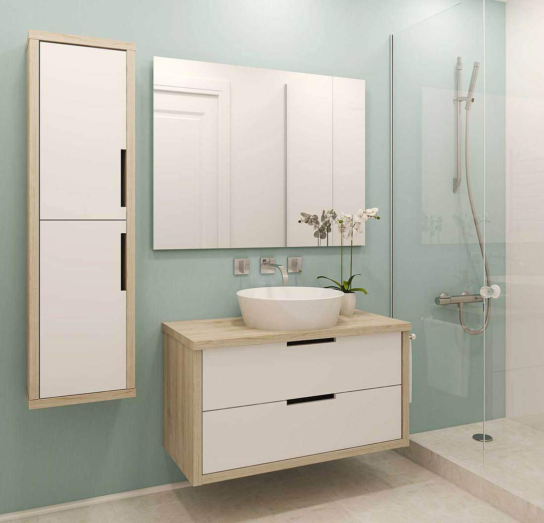 Modern bathroom interior with white wood cabinets, mirror, ceramic sink and shower