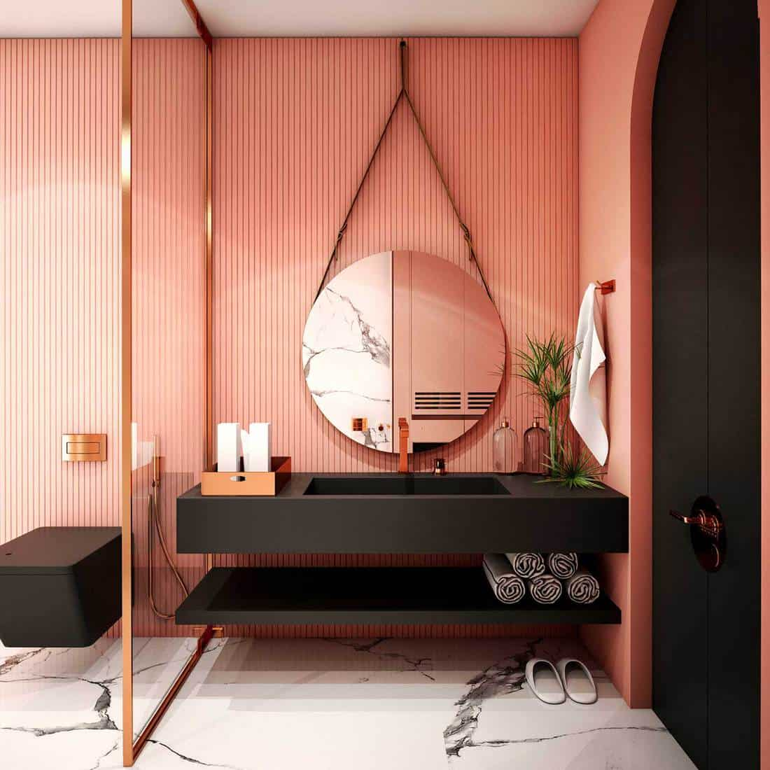 Modern bathroom with pink and black interior design