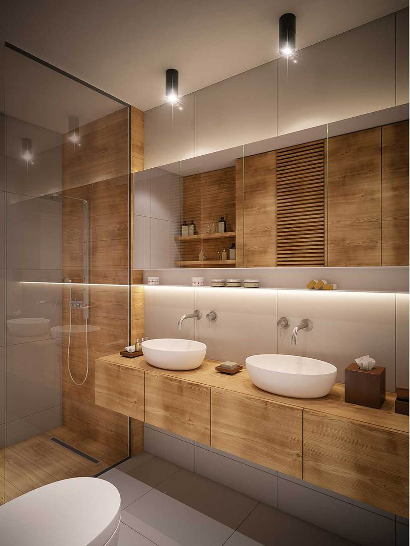 Modern bathroom with two ceramic wash basin, wood countertop, shower and toilet