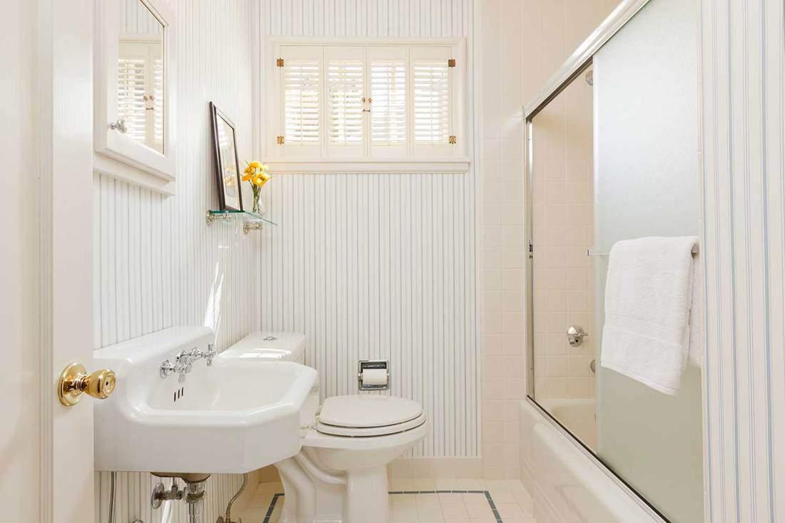 Modern bright house bathroom with yellow flower