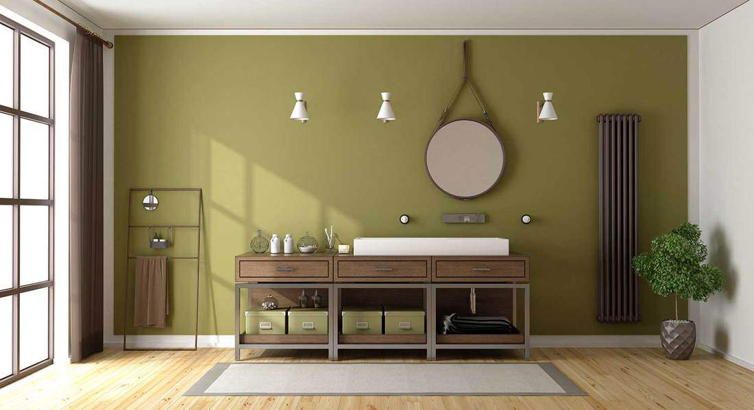Modern green and brown bathroom interior with large window and sink on wood cabinet countertop