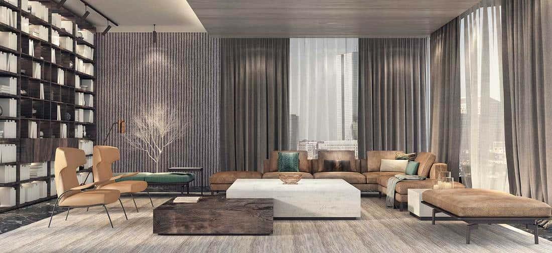 Modern interior design of a penthouse living room