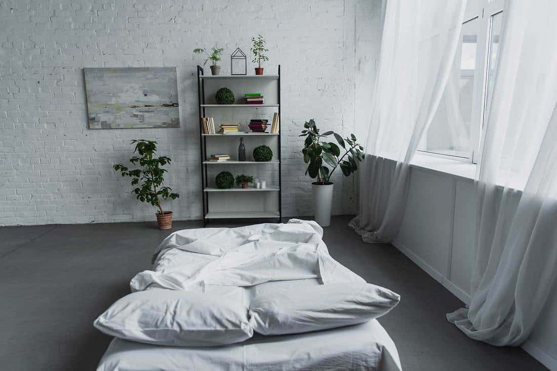 Modern interior design of bedroom with rack, plants, bed and brick walls