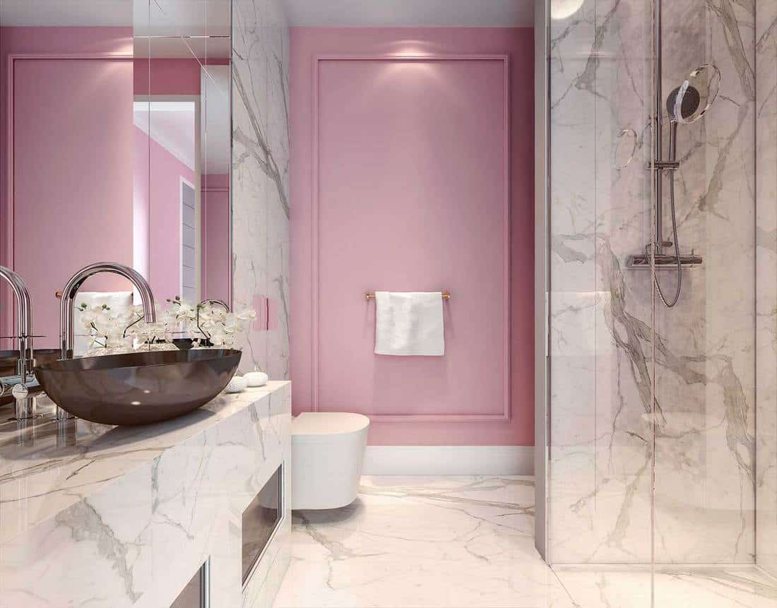 Modern interior design of millennial pink bathroom