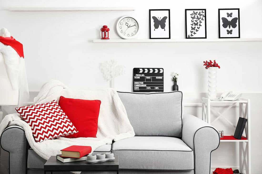 Modern living room interior with grey sofa, red throw pillows, white wall and black coffee table