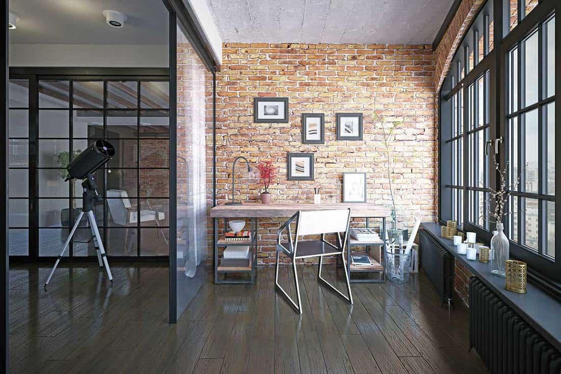 Modern loft study room interior