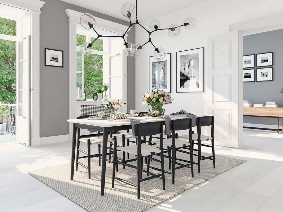 Modern nordic dining room interior
