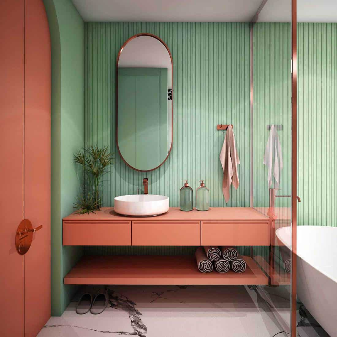 Modern red and green bathroom interior design