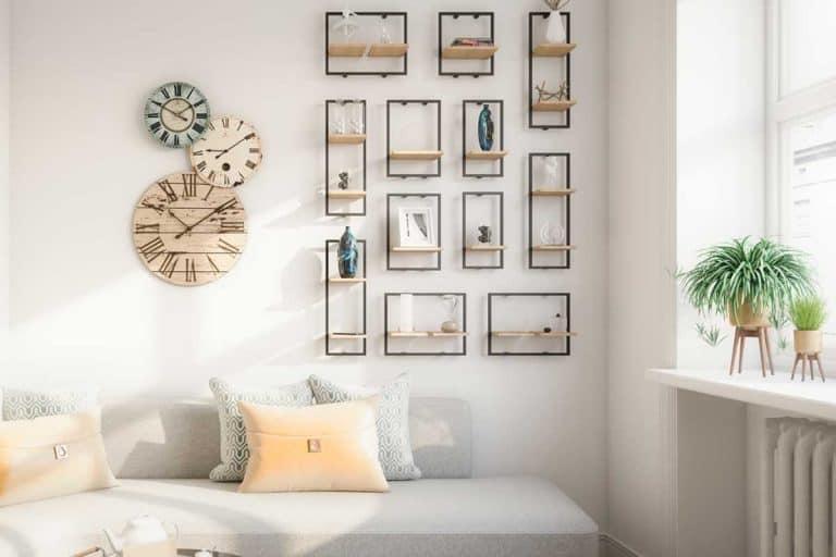 Modern scandinavian living room with wall decor, sofa and throw pillows