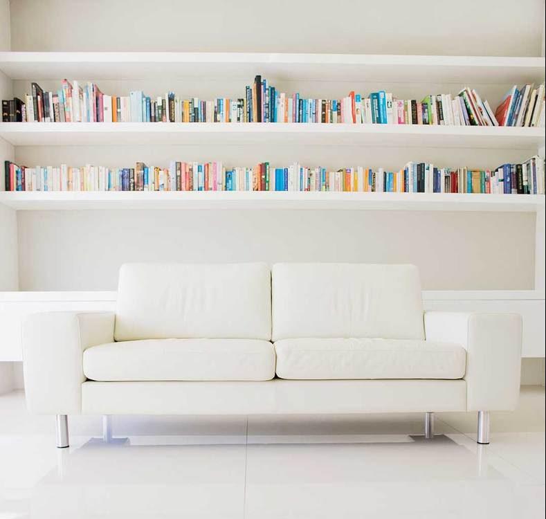 Modern sofa and shelves in white living room interior