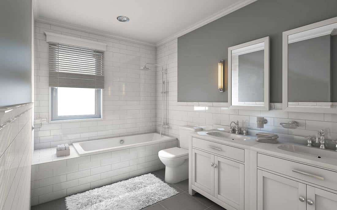 Modern white and grey themed house bathroom