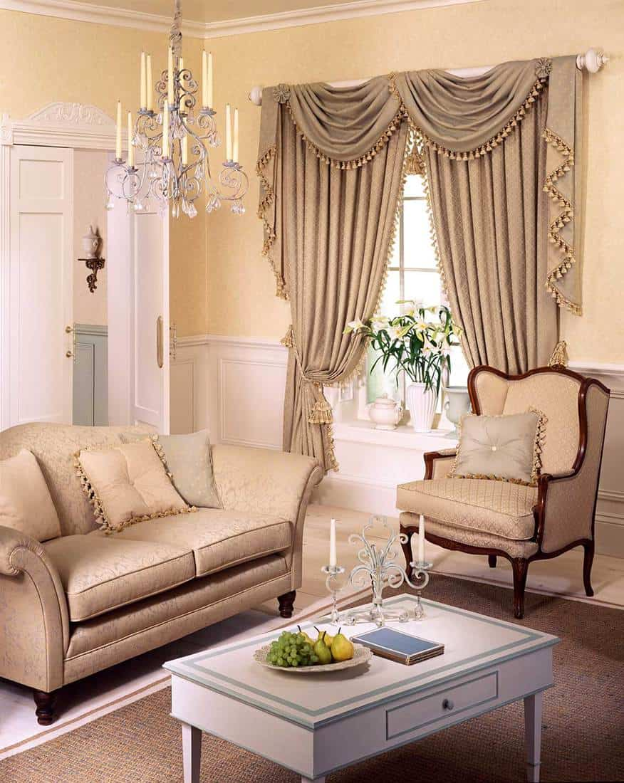 Nicely decorated living room in beige