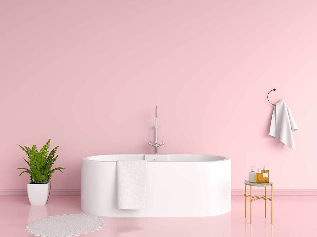 Pink bathroom interior bathtub