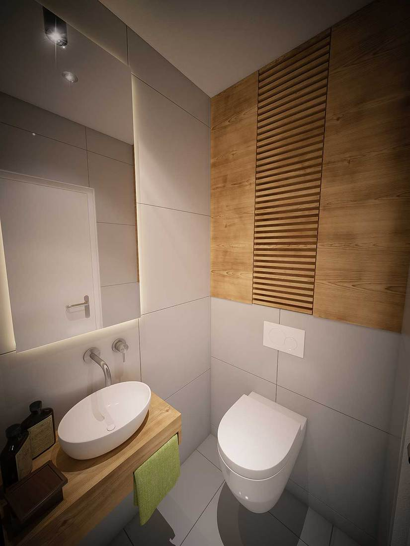Public toilet with ceramic wash basin, wooden countertop and glass mirror