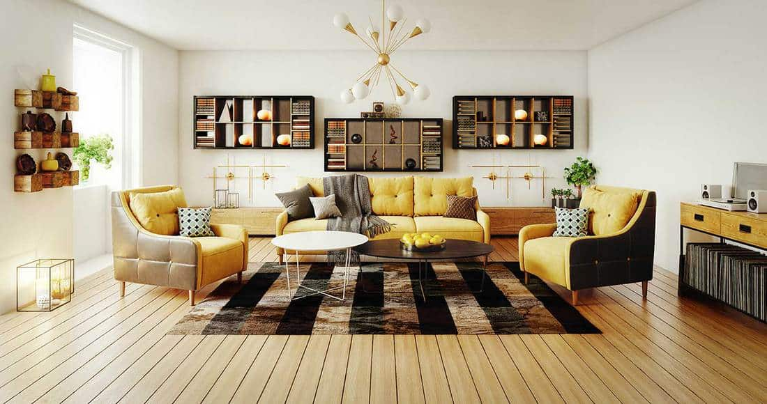 Scandinavian modern living room interior design with hardwood floor, two coffee tables and cozy yellow sofa set