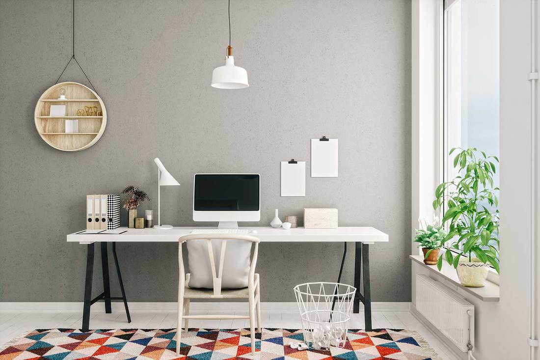 Scandinavian style working space in modern home office