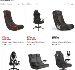 Gaming chair on Kohl's page