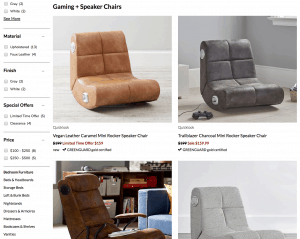 Gaming chair on Pottery barn Kids page