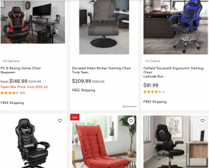 Gaming chair on Wayfair's page